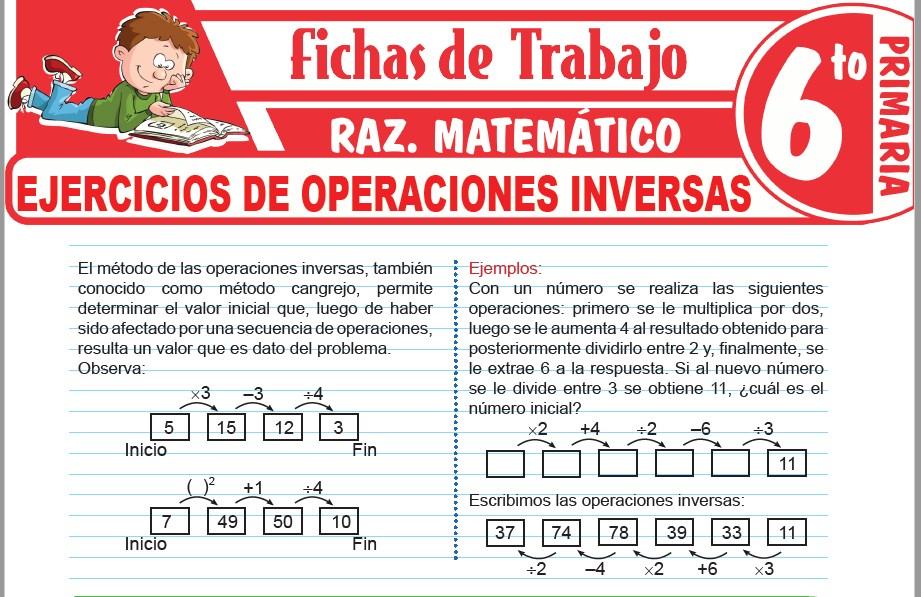 Ejercicios de operaciones inversas para Sexto de Primaria