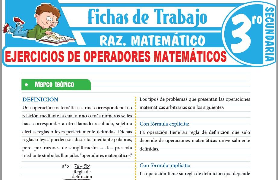 Modelos de la Ficha de Ejercicios de operadores matemáticos para Tercero de Secundaria