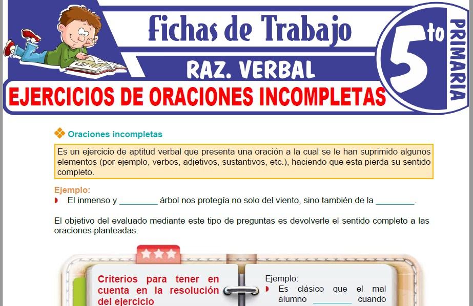 Modelos de la Ficha de Ejercicios de oraciones incompletas para Quinto de Primaria