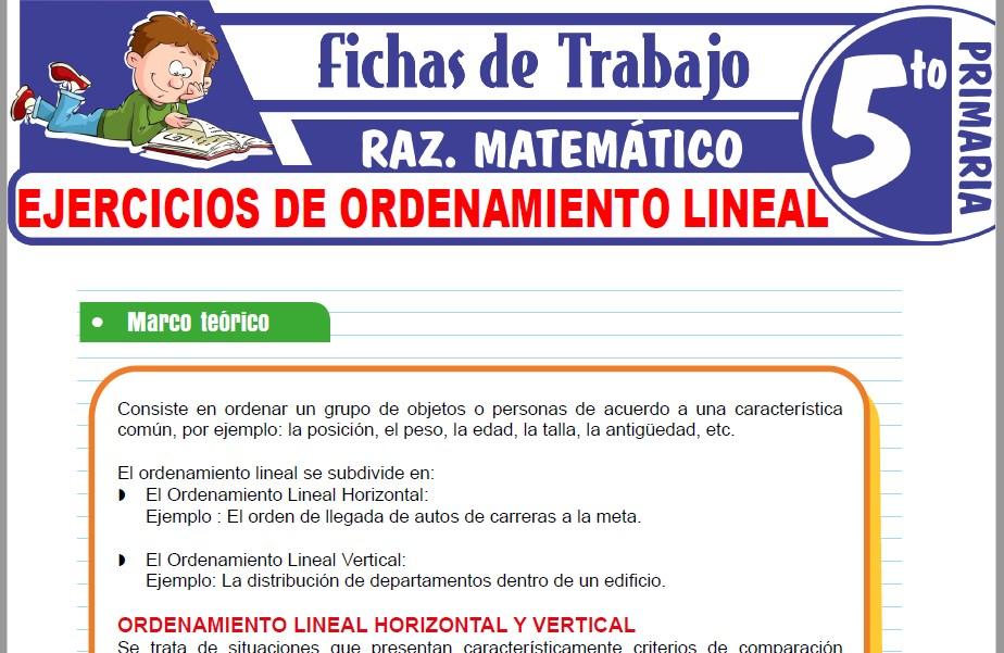 Modelos de la Ficha de Ejercicios de ordenamiento lineal para Quinto de Primaria