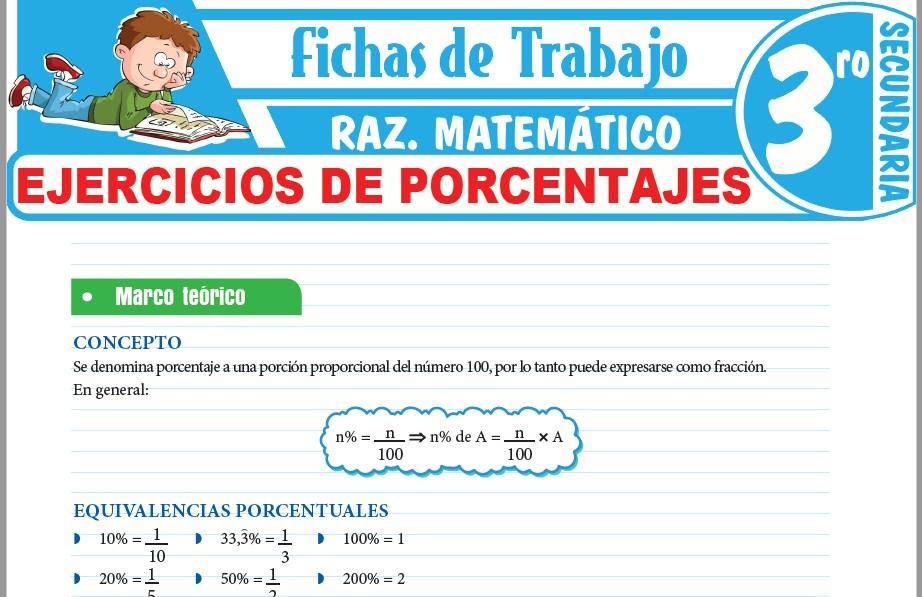 Modelos de la Ficha de Ejercicios de porcentajes para Tercero de Secundaria