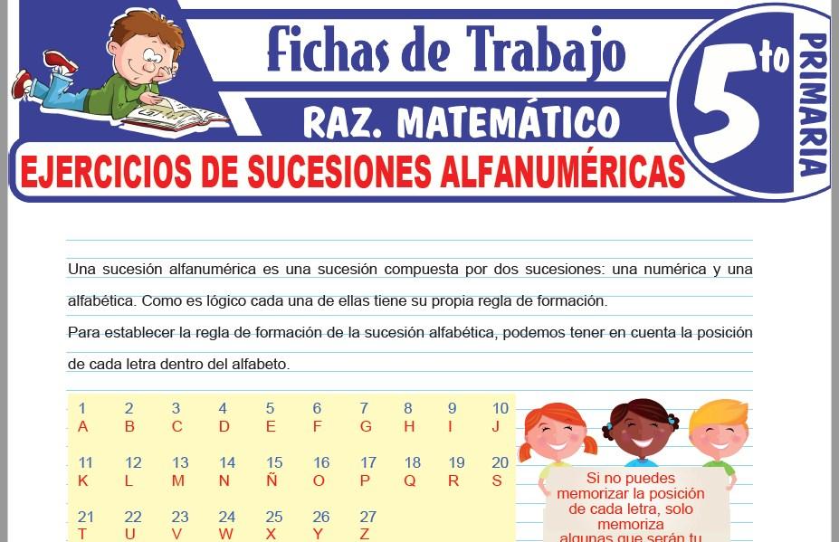 Modelos de la Ficha de Ejercicios de sucesiones alfanuméricas para Quinto de Primaria