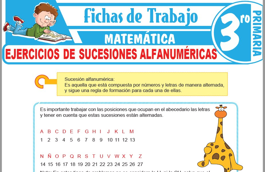 Modelos de la Ficha de Ejercicios de sucesiones alfanuméricas para Tercero de Primaria