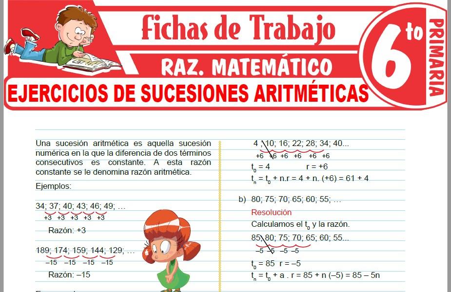 Modelos de la Ficha de Ejercicios de sucesiones aritméticas para Sexto de Primaria