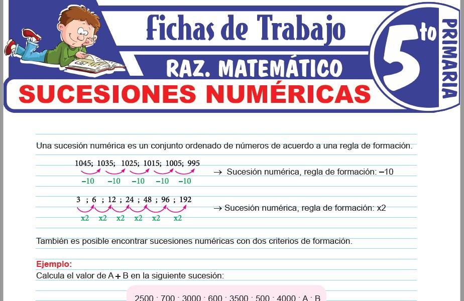 Modelos de la Ficha de Ejercicios de sucesiones numéricas para Quinto de Primaria