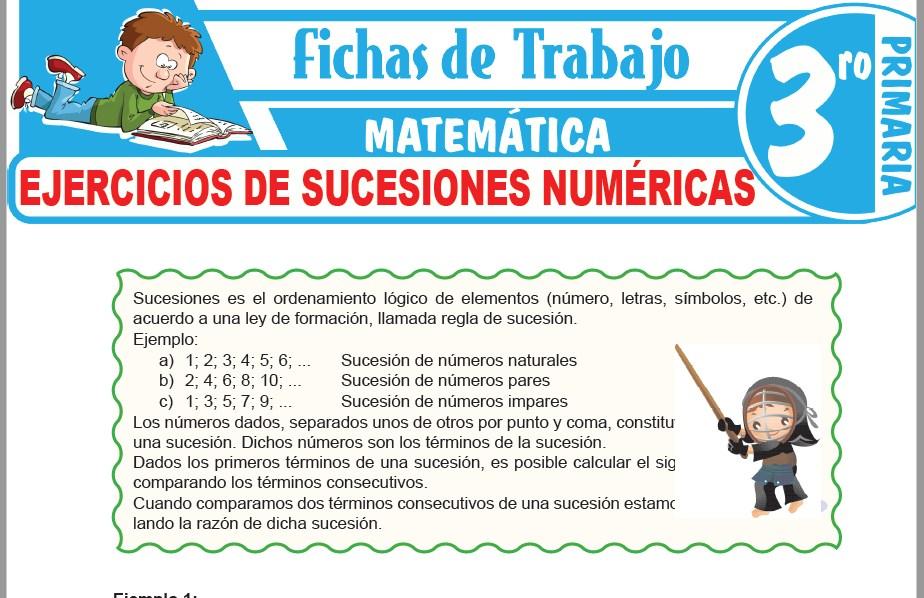 Modelos de la Ficha de Ejercicios de sucesiones numéricas para Tercero de Primaria