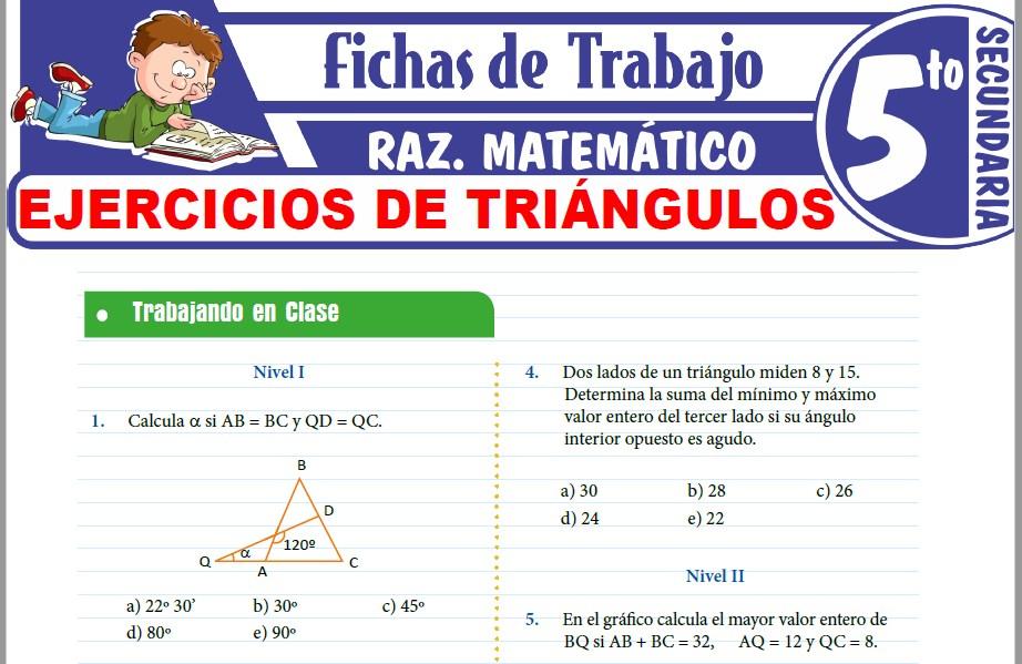 Modelos de la Ficha de Ejercicios de triángulos para Quinto de Secundaria