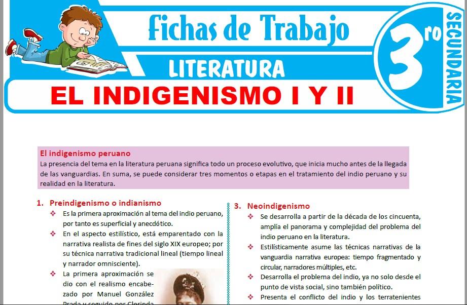 Modelos de la Ficha de El Indigenismo I y II para Tercero de Secundaria