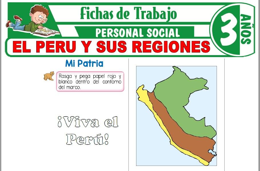 Modelos de la Ficha de El Perú y sus regiones para Niños de Tres Años