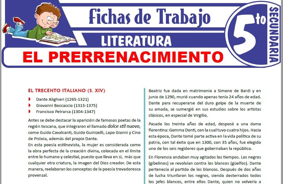 Modelos de la Ficha de El Prerrenacimiento para Quinto de Secundaria