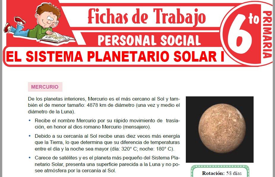 Modelos de la Ficha de El Sistema Planetario Solar I para Sexto de Primaria