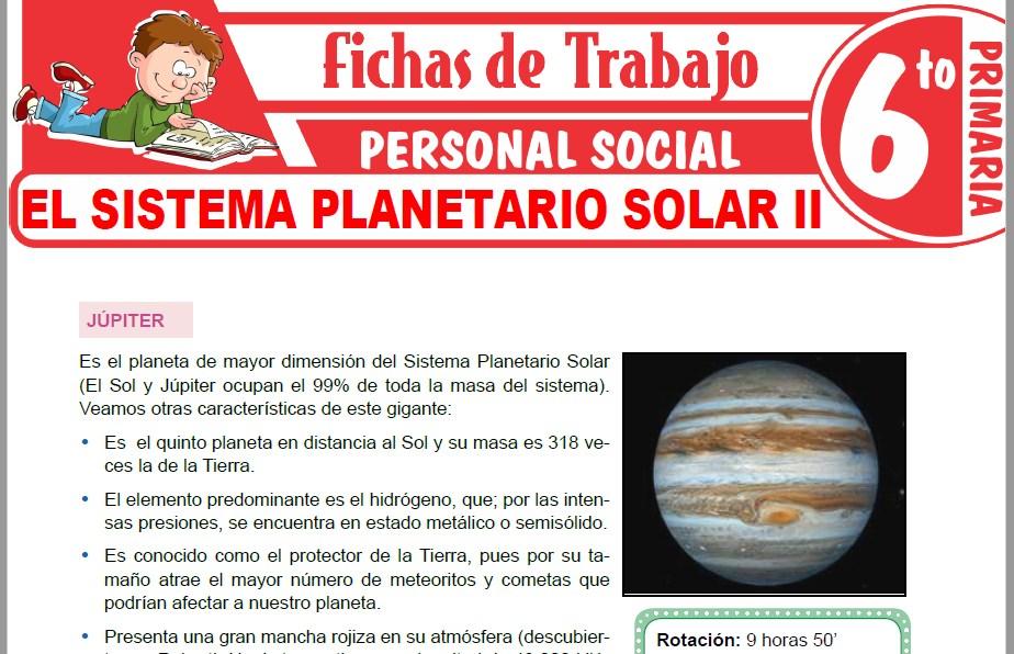 Modelos de la Ficha de El Sistema Planetario Solar II para Sexto de Primaria