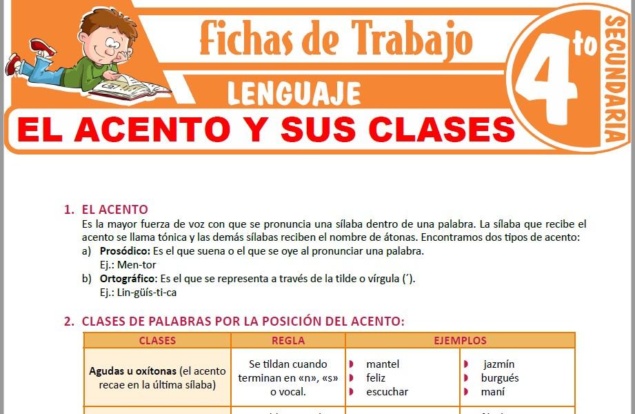 Modelos de la Ficha de El acento y sus clases para Cuarto de Secundaria