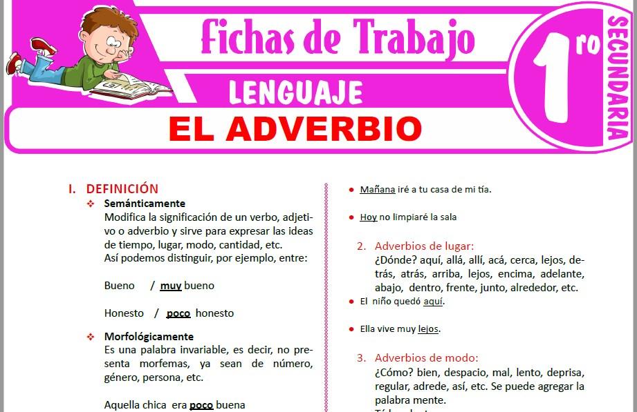 Modelos de la Ficha de El adverbio para Primero de Secundaria