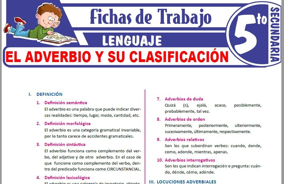 Modelos de la Ficha de El adverbio y su clasificación para Quinto de Secundaria