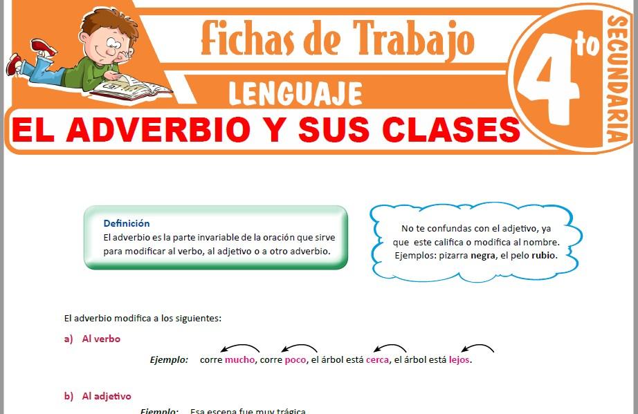 Modelos de la Ficha de El adverbio y sus clases para Cuarto de Secundaria