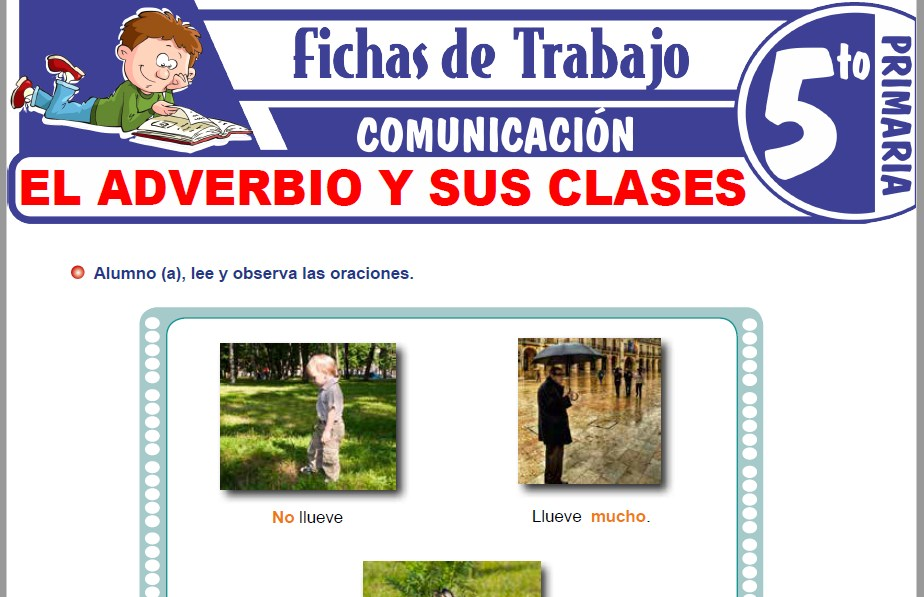 Modelos de la Ficha de El adverbio y sus clases para Quinto de Primaria