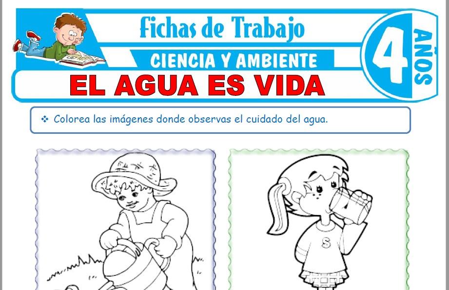 Modelos de la Ficha de El agua es vida para Niños de Cuatro Años