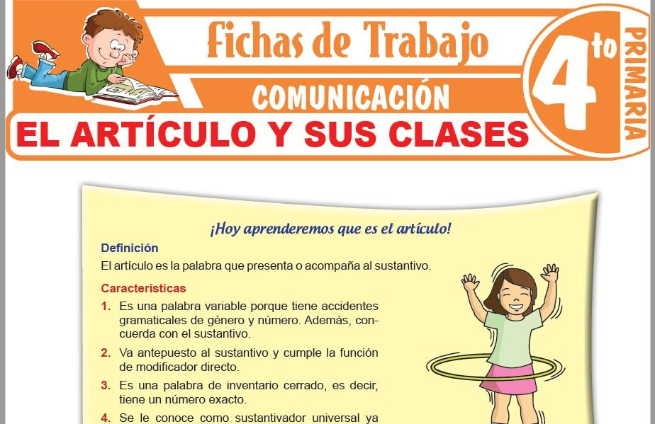 Modelos de la Ficha de El artículo y sus clases para Cuarto de Primaria