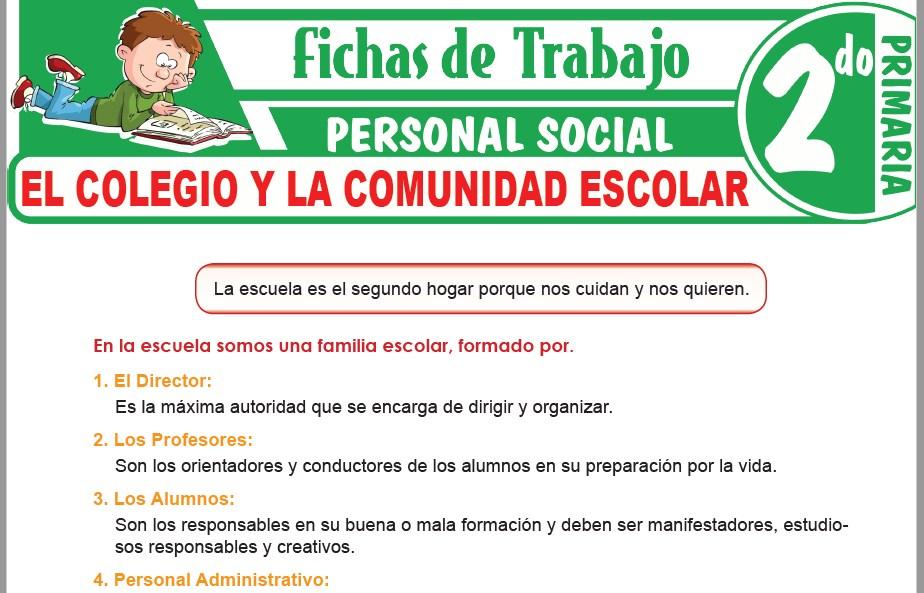 Modelos de la Ficha de El colegio y la comunidad escolar para Segundo de Primaria