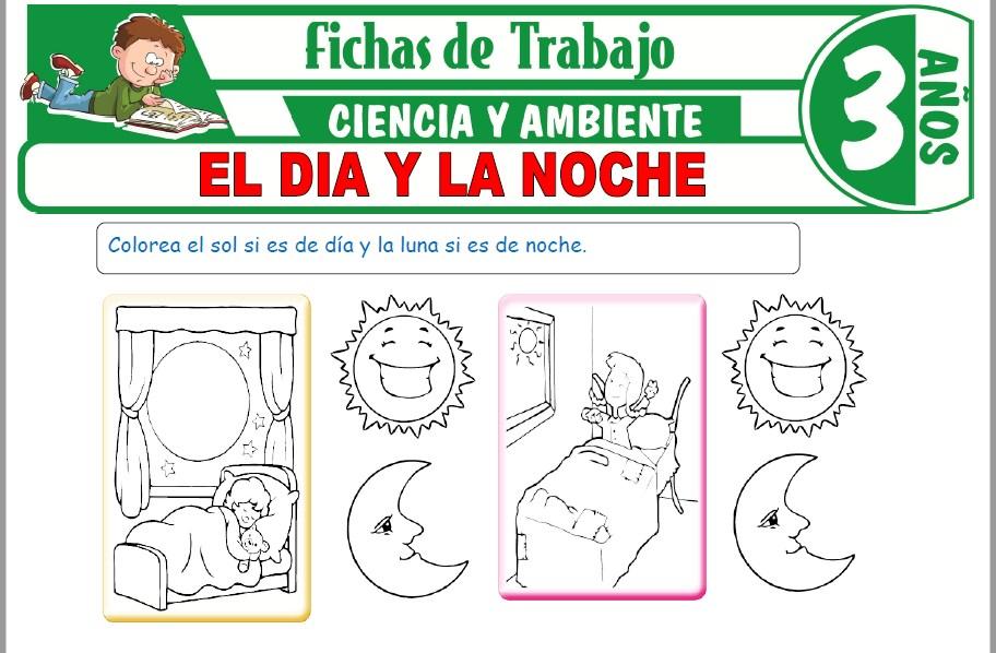 Modelos de la Ficha de El dia y la noche para Niños de Tres Años