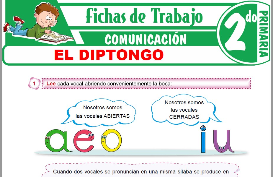 Modelos de la Ficha de El diptongo para Segundo de Primaria
