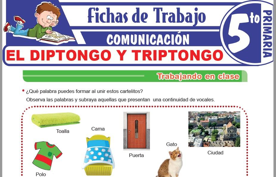 Modelos de la Ficha de El diptongo y triptongo para Quinto de Primaria