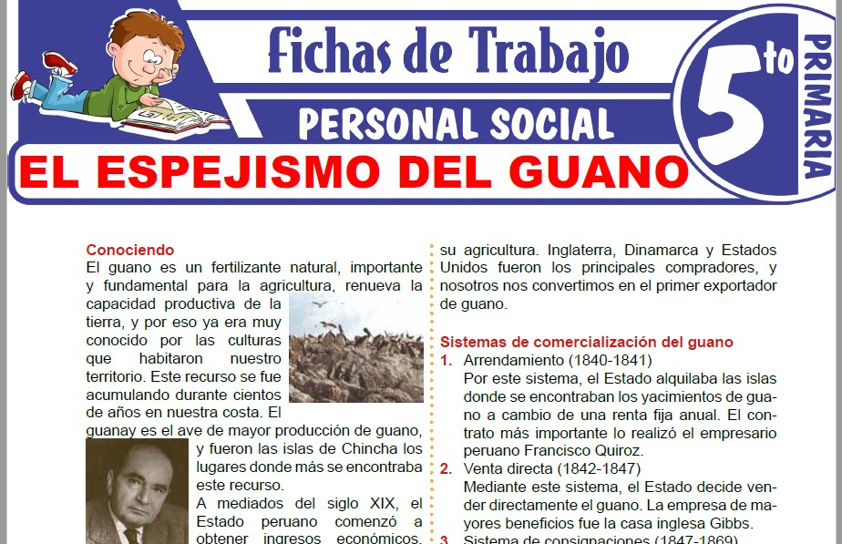 Modelos de la Ficha de El espejismo del guano para Quinto de Primaria