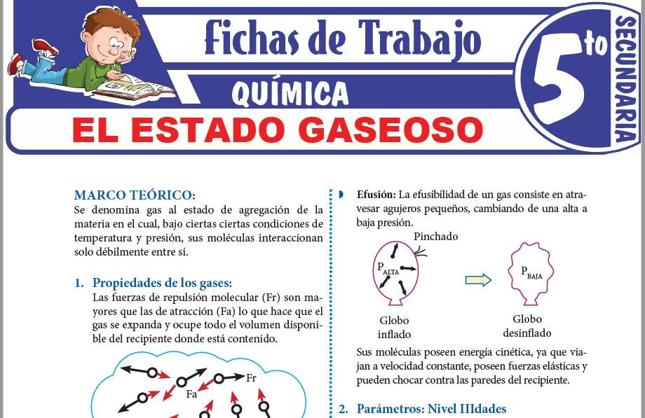 Modelos de la Ficha de El estado gaseoso para Quinto de Secundaria