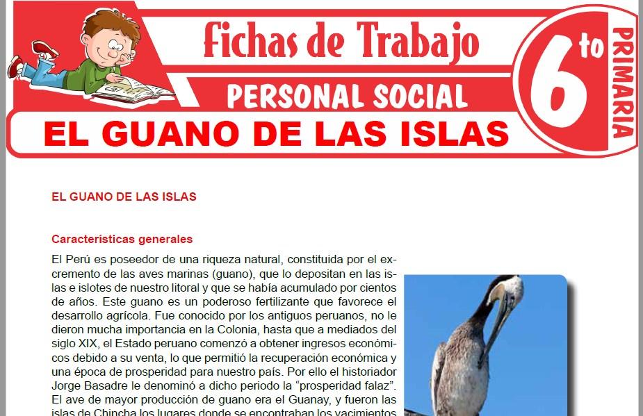 Modelos de la Ficha de El guano de las islas para Sexto de Primaria