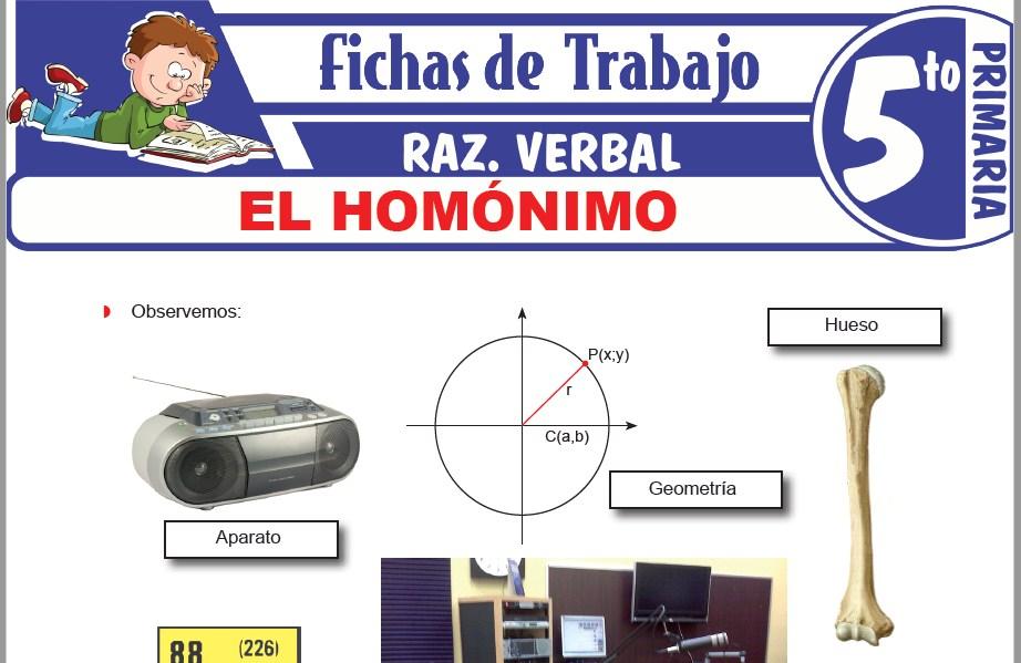 Modelos de la Ficha de El homónimo para Quinto de Primaria