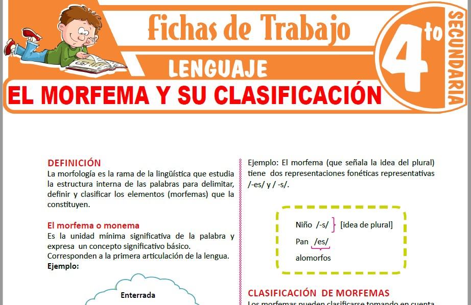 Modelos de la Ficha de El morfema y su clasificación para Cuarto de Secundaria