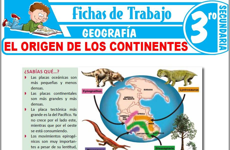 Modelos de la Ficha de El origen de los continentes para Tercero de Secundaria