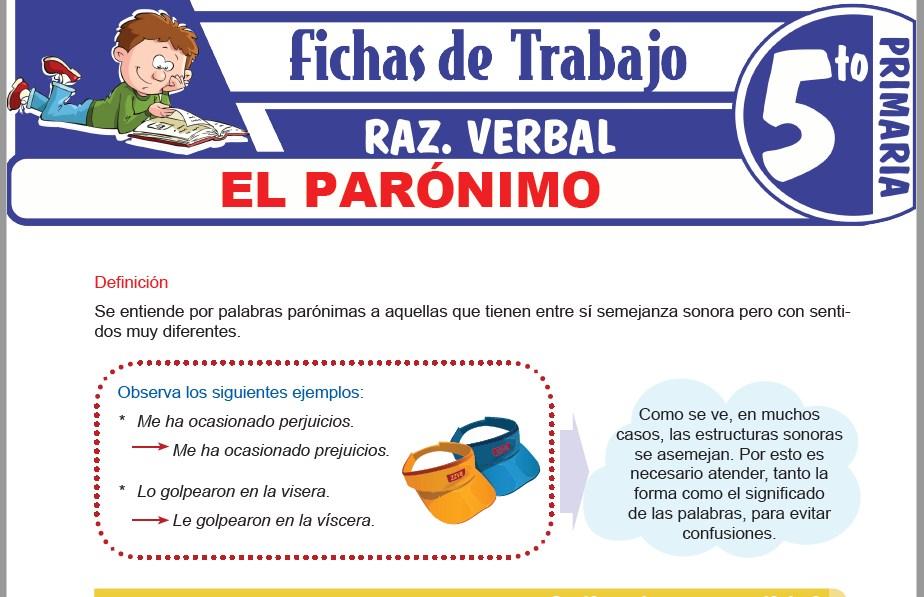 Modelos de la Ficha de El parónimo para Quinto de Primaria