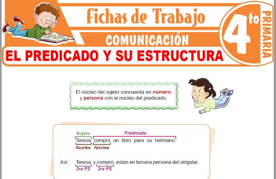 Modelos de la Ficha de El predicado y su estructura para Cuarto de Primaria