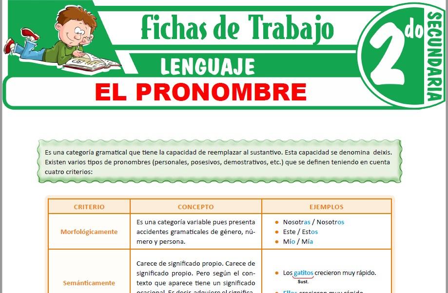 Modelos de la Ficha de El pronombre para Segundo de Secundaria