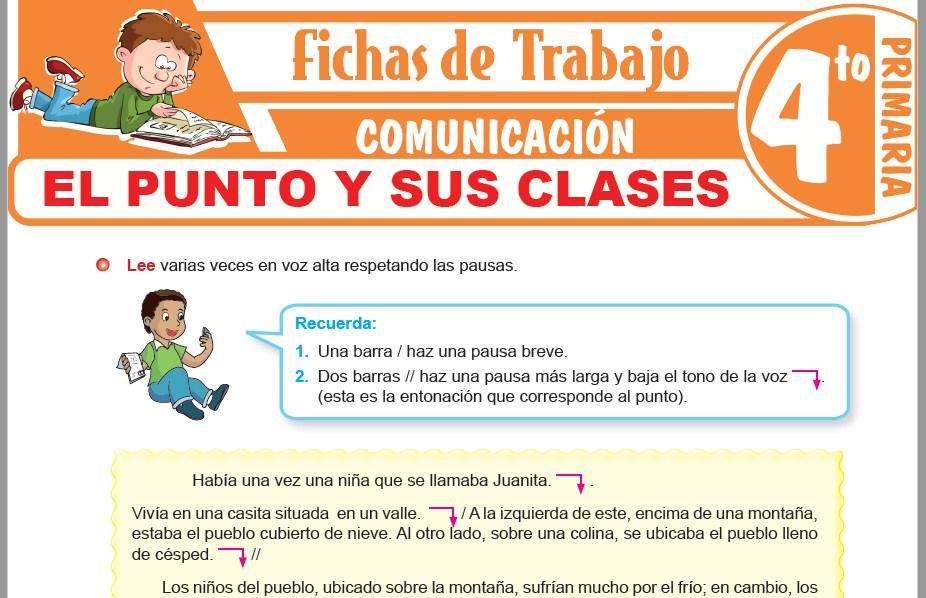 Modelos de la Ficha de El punto y sus clases para Cuarto de Primaria