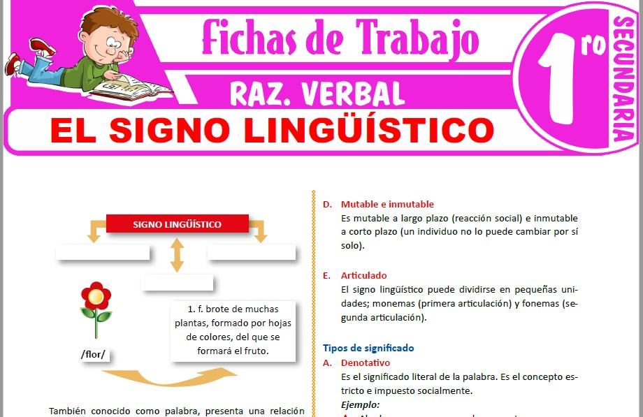 Modelos de la Ficha de El signo lingüístico para Primero de Secundaria