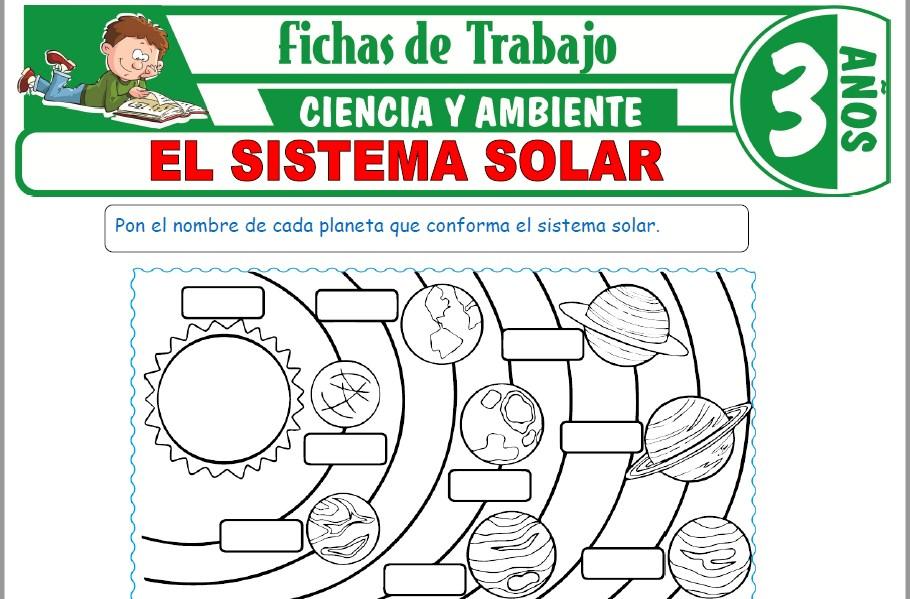 Modelos de la Ficha de El sistema solar para Niños de Tres Años