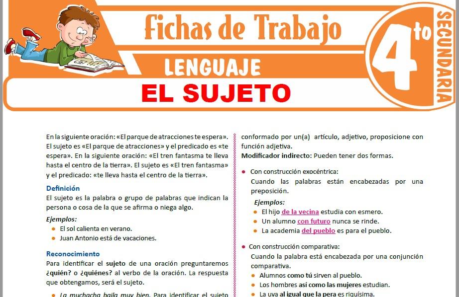 Modelos de la Ficha de El sujeto para Cuarto de Secundaria