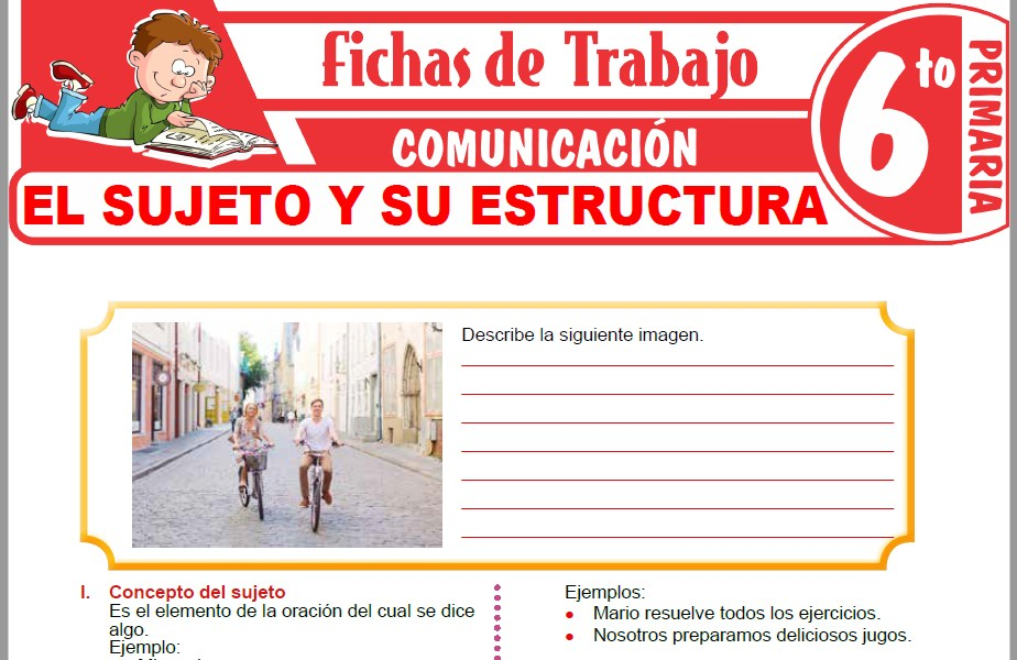 Modelos de la Ficha de El sujeto y su estructura para Sexto de Primaria
