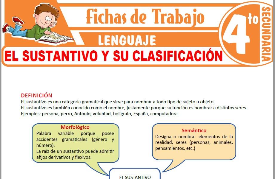 Modelos de la Ficha de El sustantivo y su clasificación para Cuarto de Secundaria