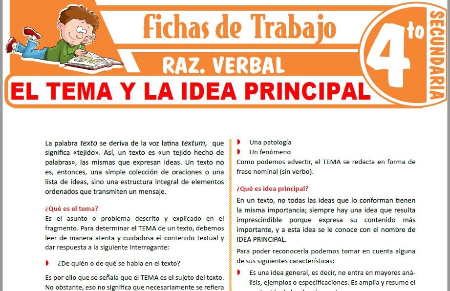 Modelos de la Ficha de El tema y la idea principal para Cuarto de Secundaria