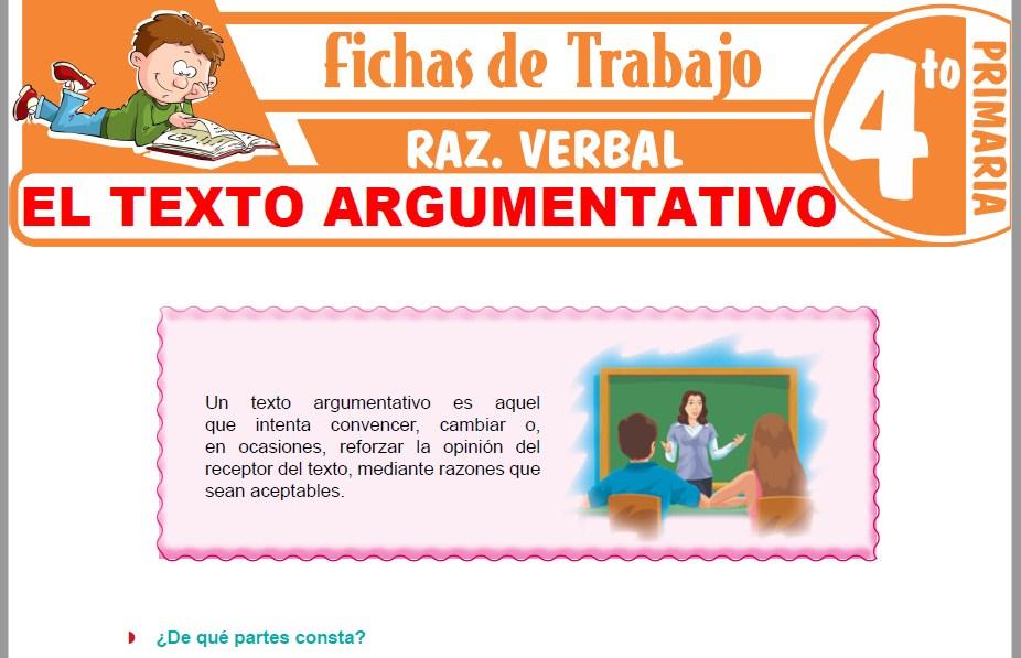Modelos de la Ficha de El Texto Argumentativo para Cuarto de Primaria
