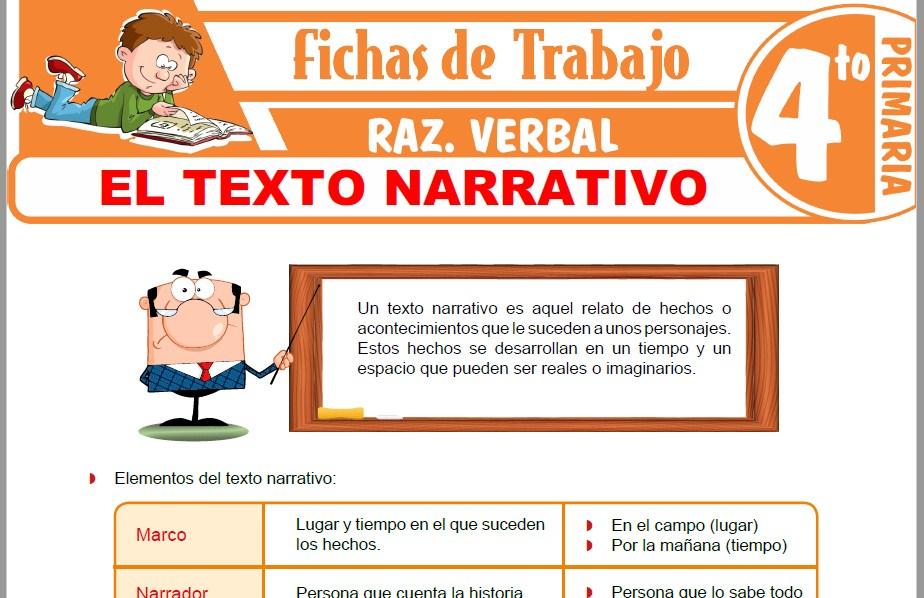 Modelos de la Ficha de El Texto Narrativo para Cuarto de Primaria