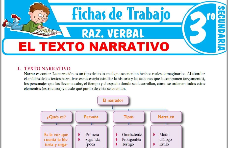 Modelos de la Ficha de El texto narrativo para Tercero de Secundaria
