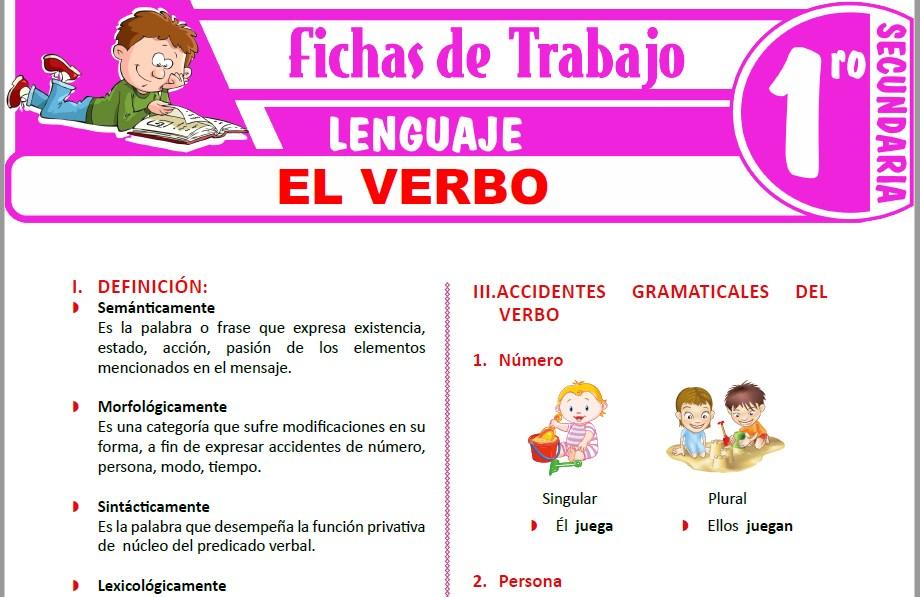 Modelos de la Ficha de El verbo para Primero de Secundaria