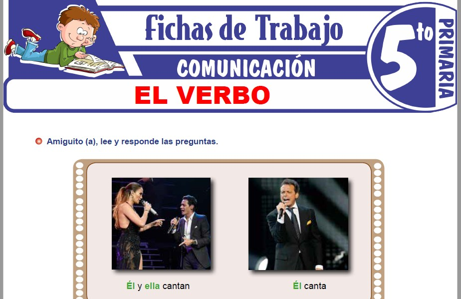 Modelos de la Ficha de El verbo y sus accidentes gramaticales para Quinto de Primaria