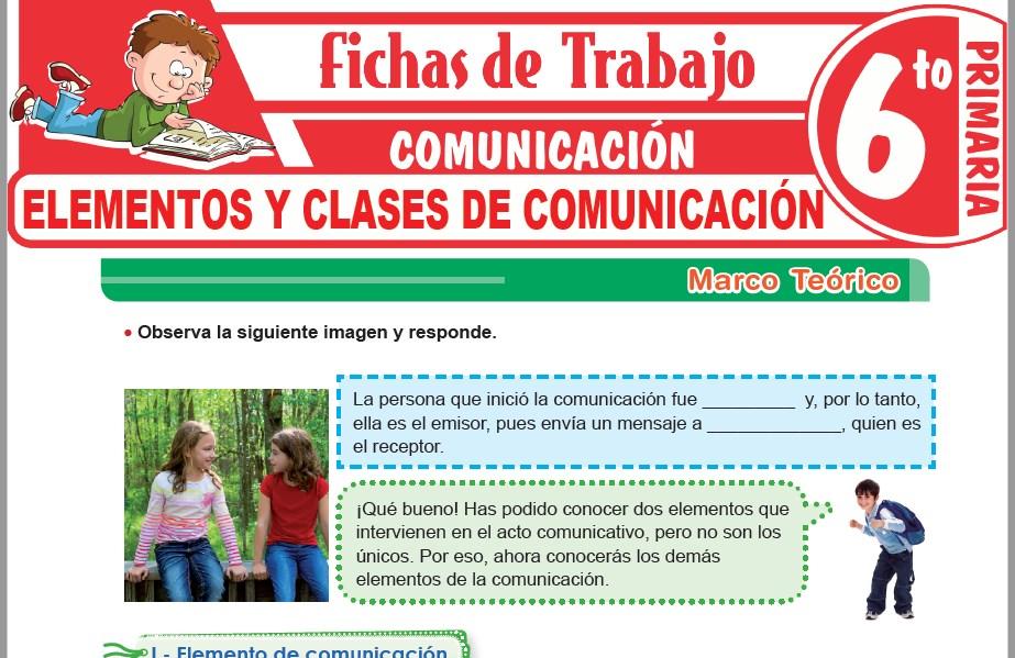 Modelos de la Ficha de Elementos y clases de comunicación para Sexto de Primaria