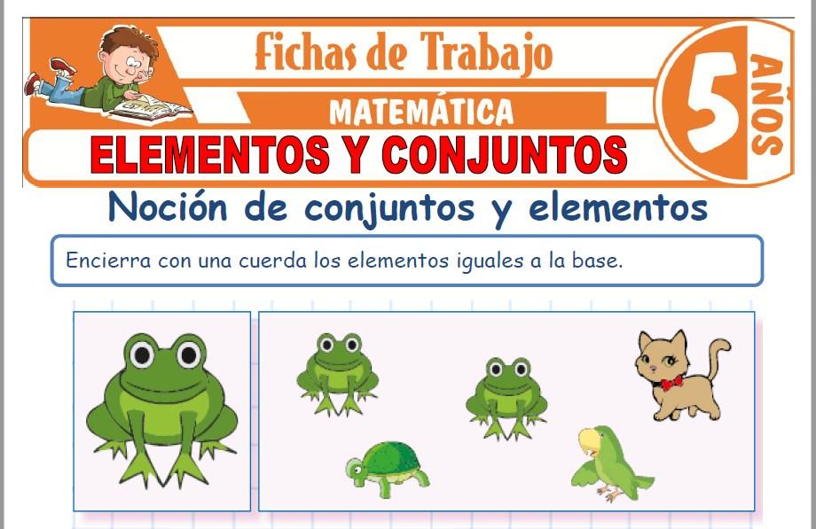 Modelos de la Ficha de Elementos y conjuntos para Niños de Cinco Años